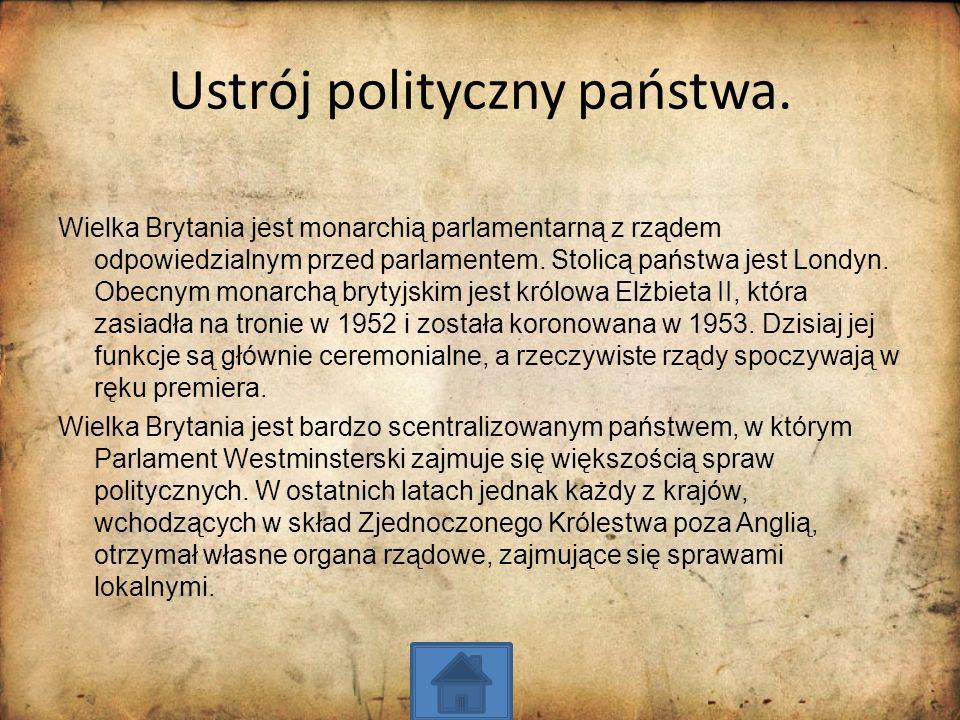 Ustrój polityczny państwa. Wielka Brytania jest monarchią parlamentarną z rządem odpowiedzialnym przed parlamentem. Stolicą państwa jest Londyn. Obecn