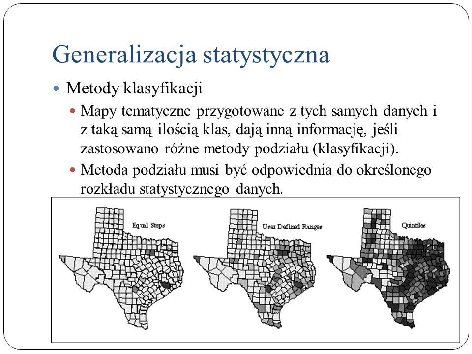 Generalizacja statystyczna Metody klasyfikacji Mapy tematyczne przygotowane z tych samych danych i z taką samą ilością klas, dają inną informację, jeś