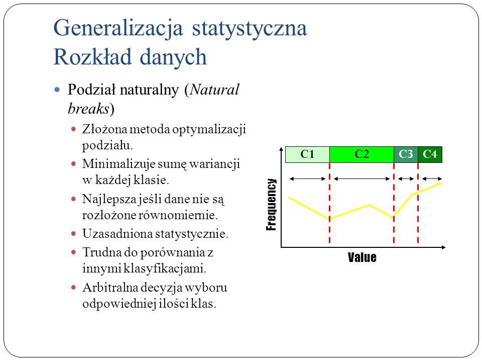 Generalizacja statystyczna Rozkład danych Podział naturalny (Natural breaks) Złożona metoda optymalizacji podziału. Minimalizuje sumę wariancji w każd
