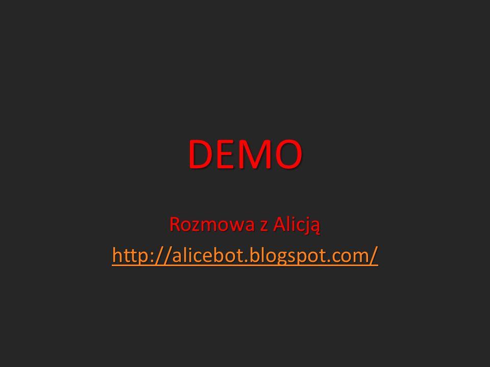 DEMO Rozmowa z Alicją http://alicebot.blogspot.com/