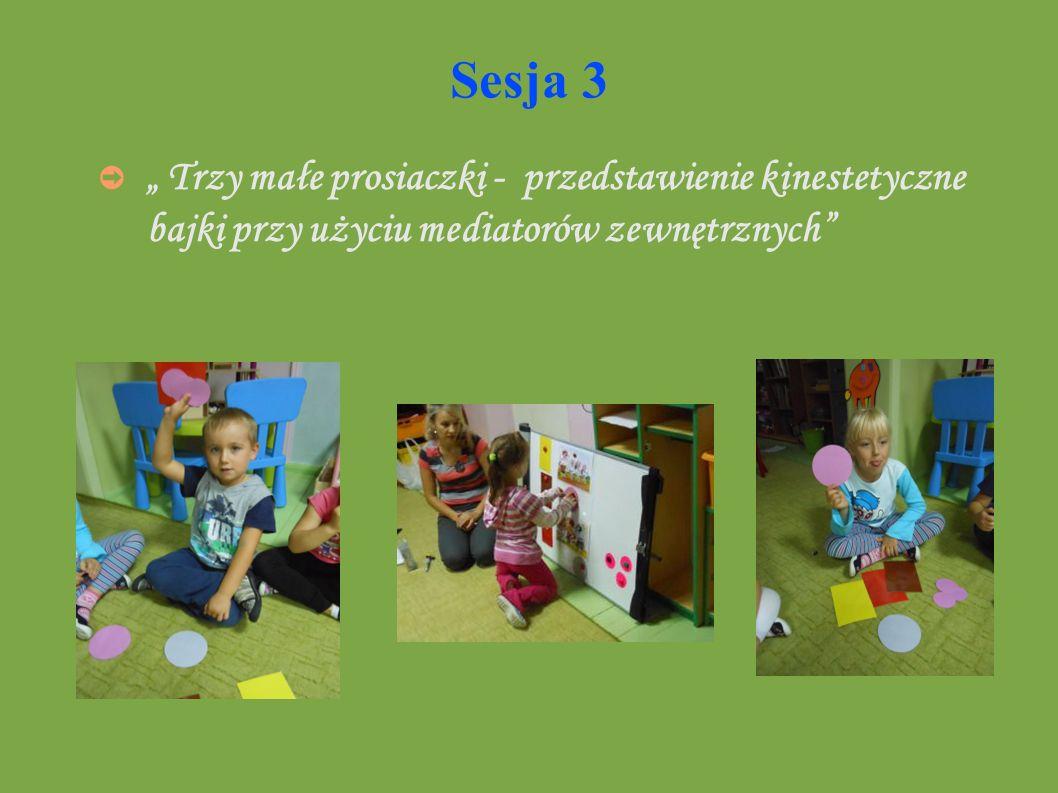 Sesja 3 Trzy małe prosiaczki - przedstawienie kinestetyczne bajki przy użyciu mediatorów zewnętrznych