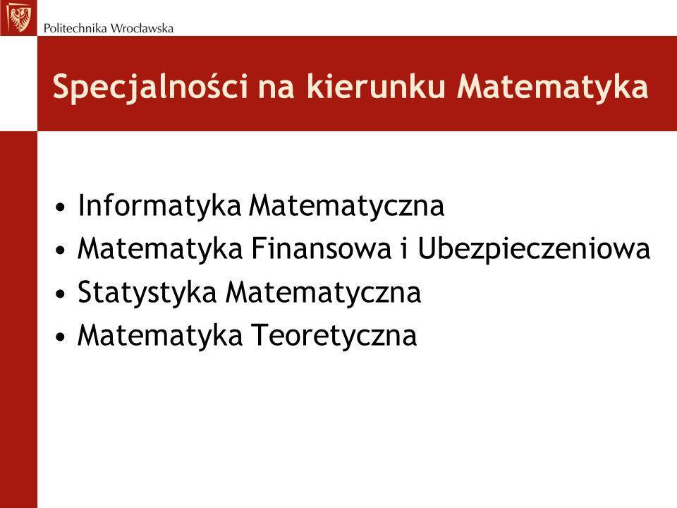 Specjalności na kierunku Matematyka Informatyka Matematyczna Matematyka Finansowa i Ubezpieczeniowa Statystyka Matematyczna Matematyka Teoretyczna