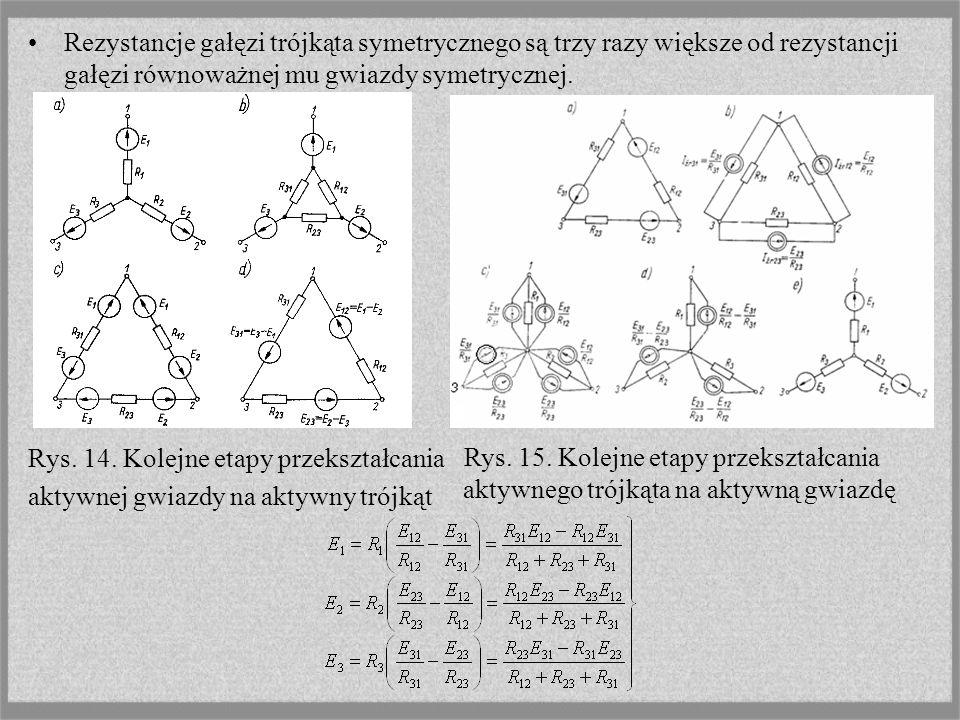 Rezystancje gałęzi trójkąta symetrycznego są trzy razy większe od rezystancji gałęzi równoważnej mu gwiazdy symetrycznej. Rys. 14. Kolejne etapy przek