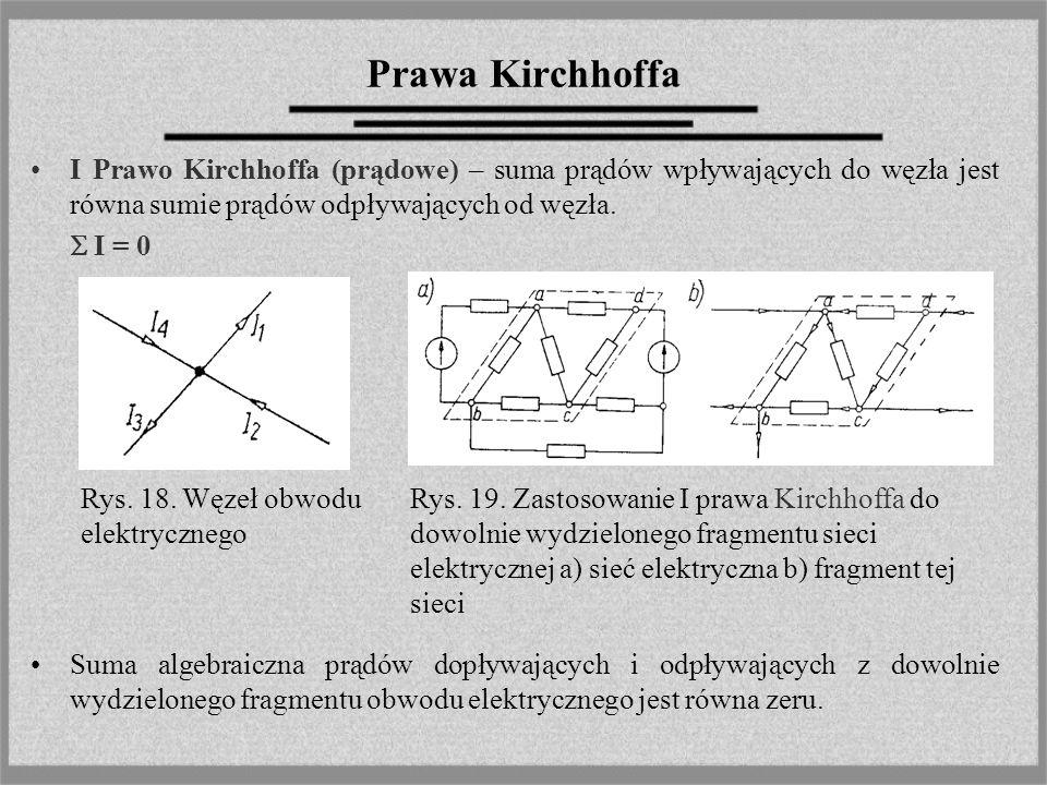 Prawa Kirchhoffa I Prawo Kirchhoffa (prądowe) – suma prądów wpływających do węzła jest równa sumie prądów odpływających od węzła. I = 0 Suma algebraic