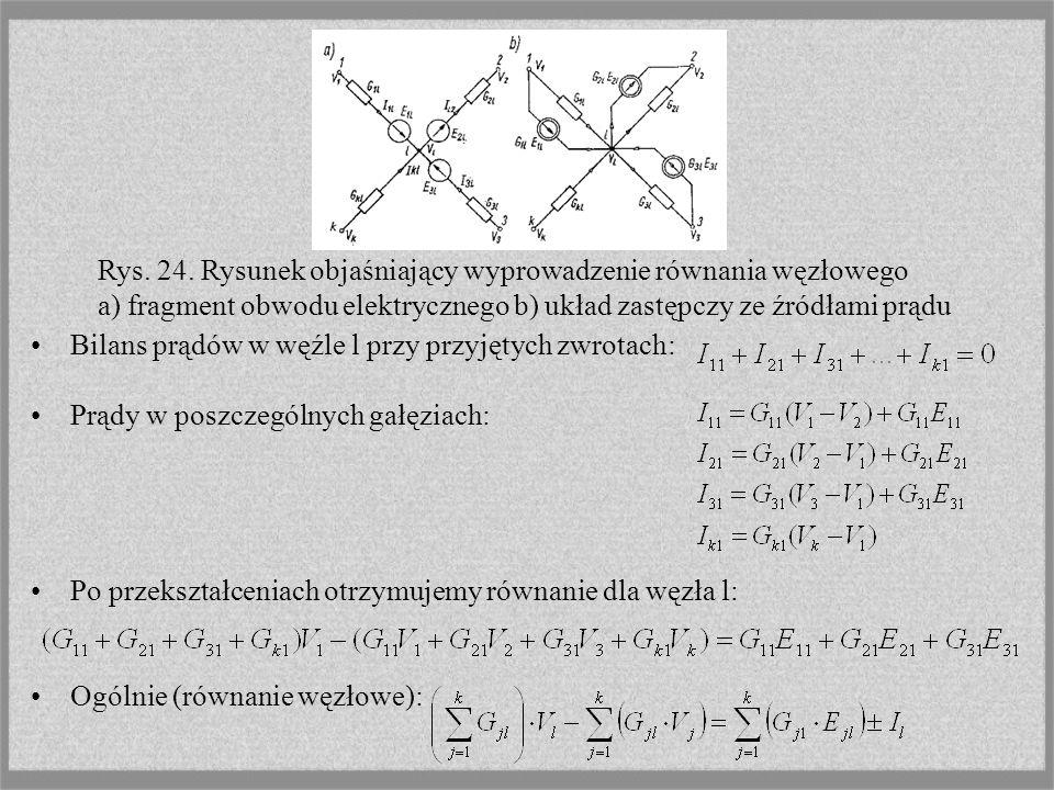 Bilans prądów w węźle l przy przyjętych zwrotach: Prądy w poszczególnych gałęziach: Po przekształceniach otrzymujemy równanie dla węzła l: Ogólnie (ró