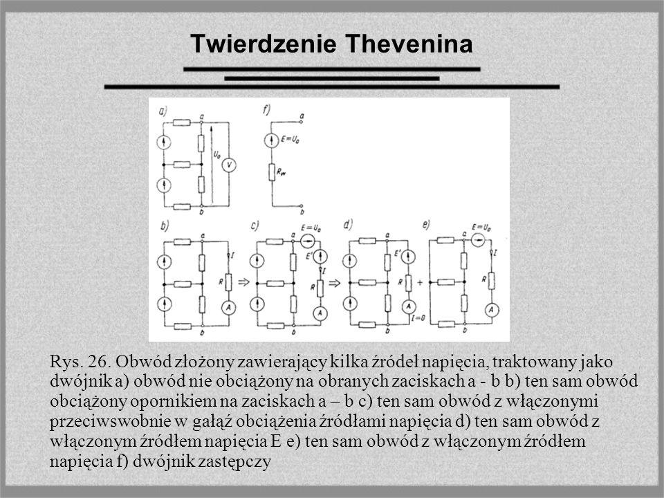 Twierdzenie Thevenina Rys. 26. Obwód złożony zawierający kilka źródeł napięcia, traktowany jako dwójnik a) obwód nie obciążony na obranych zaciskach a