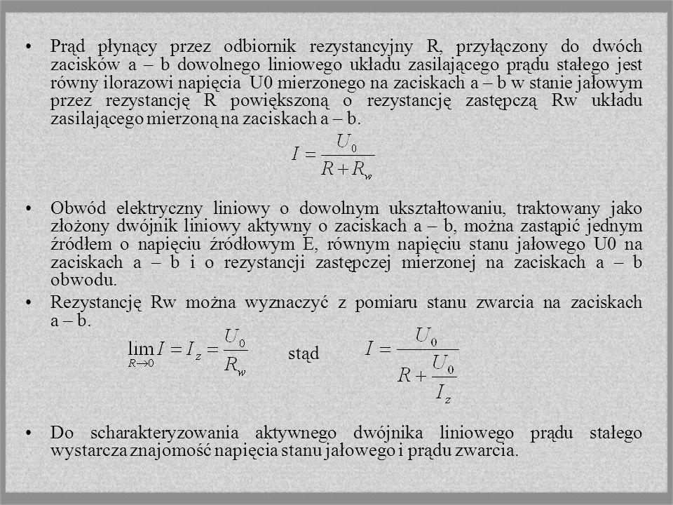 Prąd płynący przez odbiornik rezystancyjny R, przyłączony do dwóch zacisków a – b dowolnego liniowego układu zasilającego prądu stałego jest równy ilo
