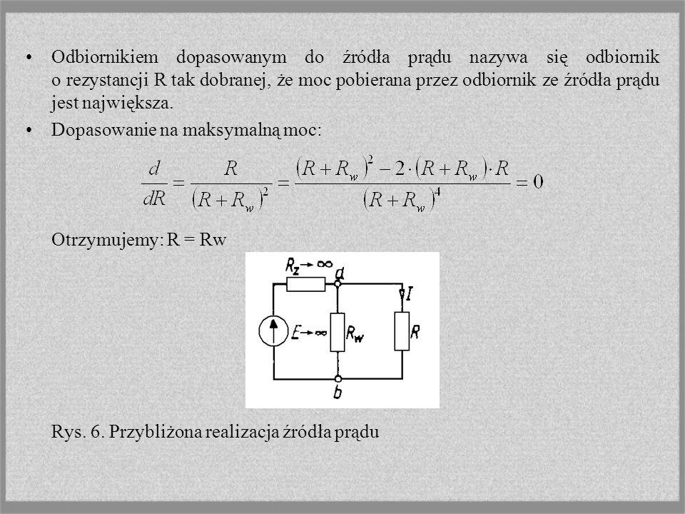 Łączenie równoległe Układ równoległy n gałęzi aktywnych o dowolnych napięciach źródłowych Ej i konduktancjach Gj, można zastąpić jedną gałęzią o napięciu źródłowym równym sumie iloczynów konduktancji i napięć źródłowych poszczególnych gałęzi podzielonej przez sumę ich konduktancji, która jest zarazem konduktancją gałęzi zastępczej.