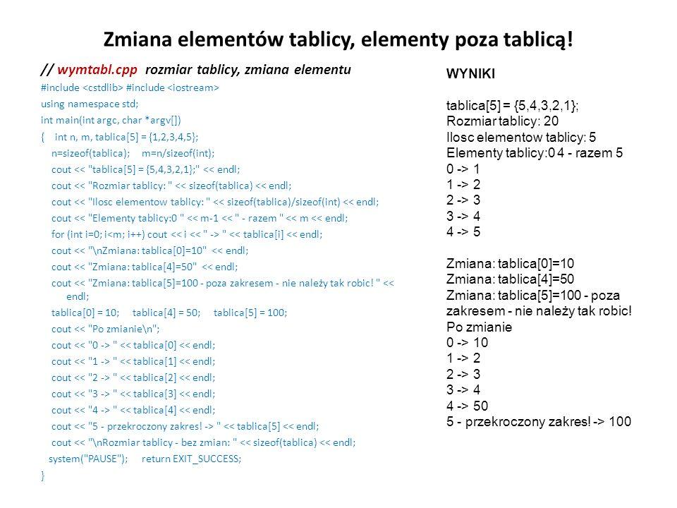 Zmiana elementów tablicy, elementy poza tablicą! // wymtabl.cpp rozmiar tablicy, zmiana elementu #include #include using namespace std; int main(int a