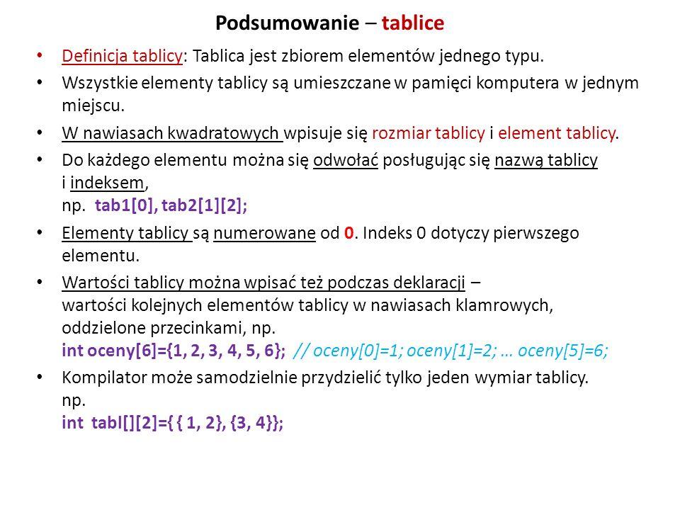 Podsumowanie – tablice Definicja tablicy: Tablica jest zbiorem elementów jednego typu. Wszystkie elementy tablicy są umieszczane w pamięci komputera w