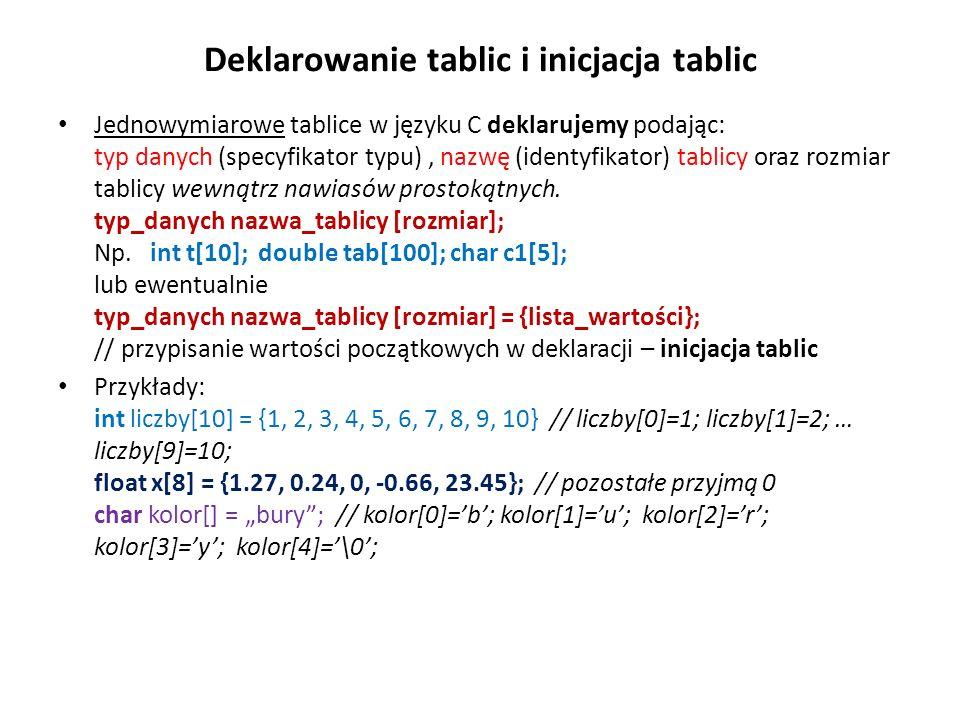 Deklarowanie tablic i inicjacja tablic Jednowymiarowe tablice w języku C deklarujemy podając: typ danych (specyfikator typu), nazwę (identyfikator) ta