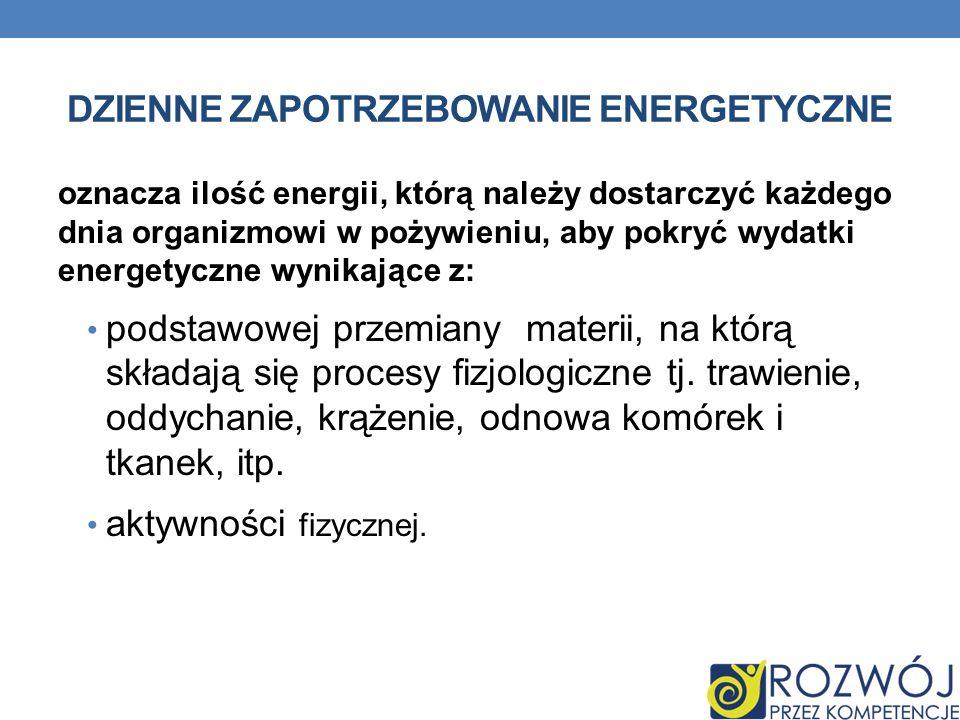 DZIENNE ZAPOTRZEBOWANIE ENERGETYCZNE oznacza ilość energii, którą należy dostarczyć każdego dnia organizmowi w pożywieniu, aby pokryć wydatki energety