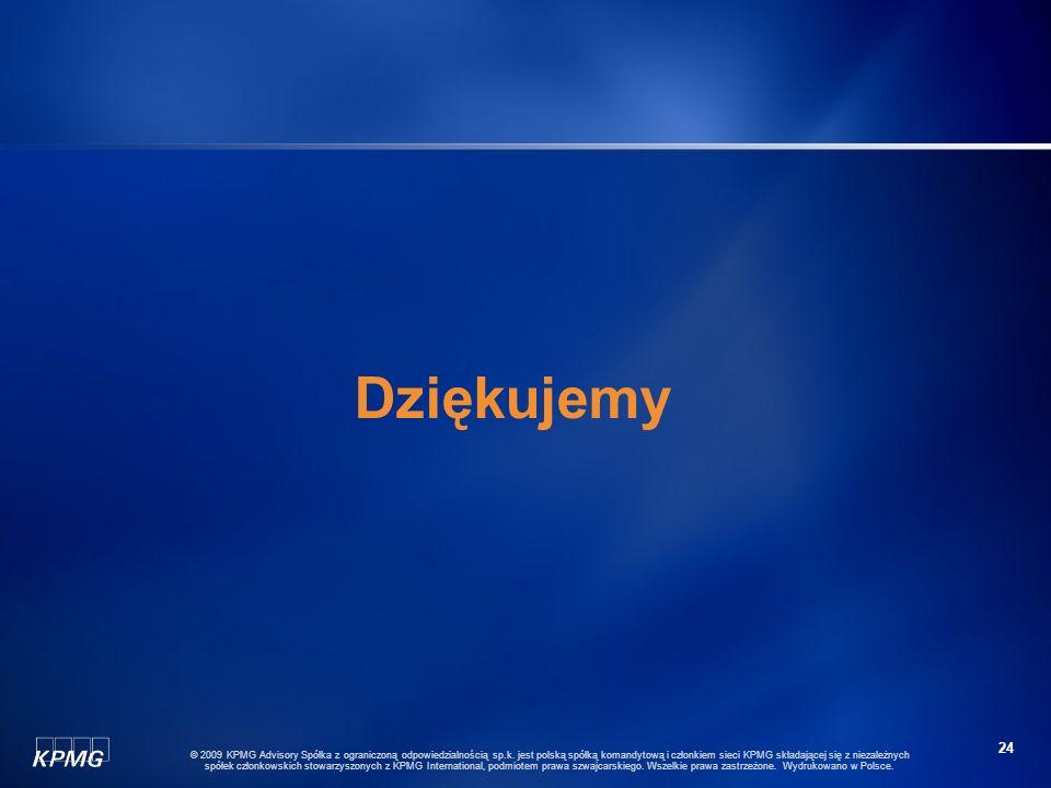 23 © 2009 KPMG Advisory Spółka z ograniczoną odpowiedzialnością sp.k. jest polską spółką komandytową i członkiem sieci KPMG składającej się z niezależ