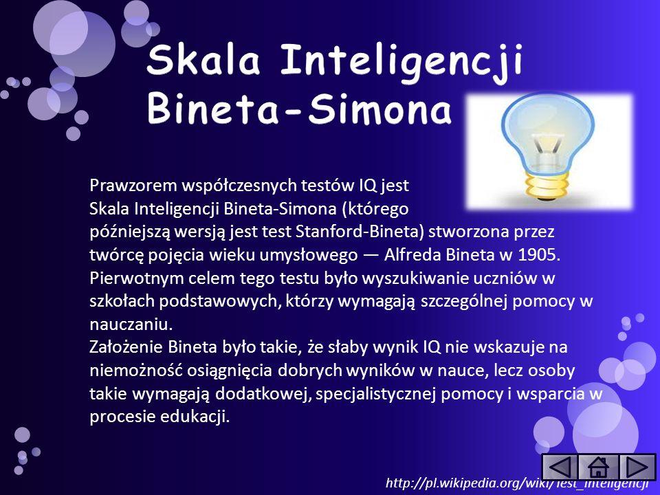http://pl.wikipedia.org/wiki/Test_inteligencji Prawzorem współczesnych testów IQ jest Skala Inteligencji Bineta-Simona (którego późniejszą wersją jest