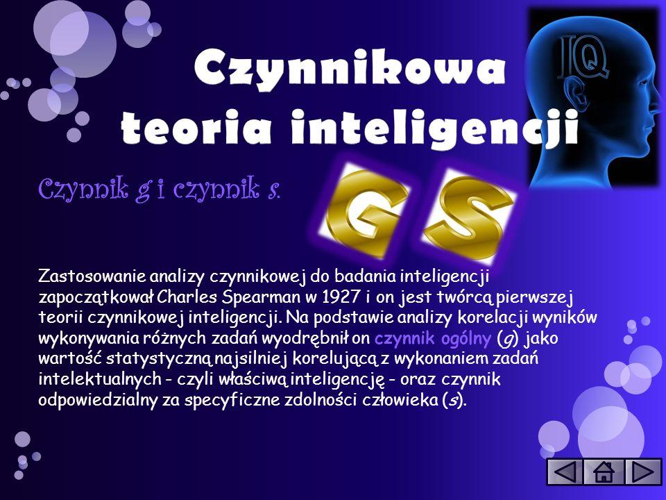 Czynnik g i czynnik s. Zastosowanie analizy czynnikowej do badania inteligencji zapoczątkował Charles Spearman w 1927 i on jest twórcą pierwszej teori
