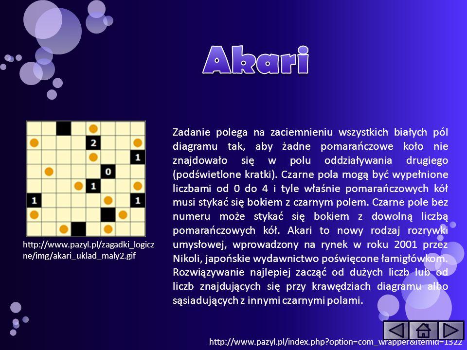 http://www.pazyl.pl/zagadki_logicz ne/img/akari_uklad_maly2.gif Zadanie polega na zaciemnieniu wszystkich białych pól diagramu tak, aby żadne pomarańc