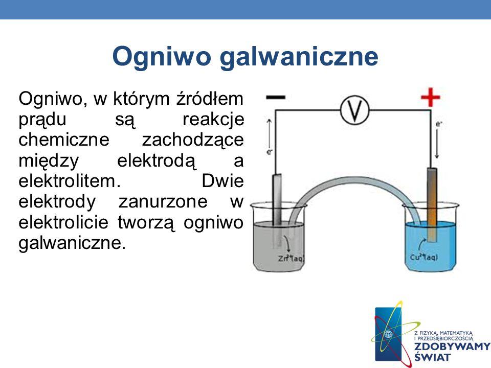 Ogniwo galwaniczne Ogniwo, w którym źródłem prądu są reakcje chemiczne zachodzące między elektrodą a elektrolitem. Dwie elektrody zanurzone w elektrol