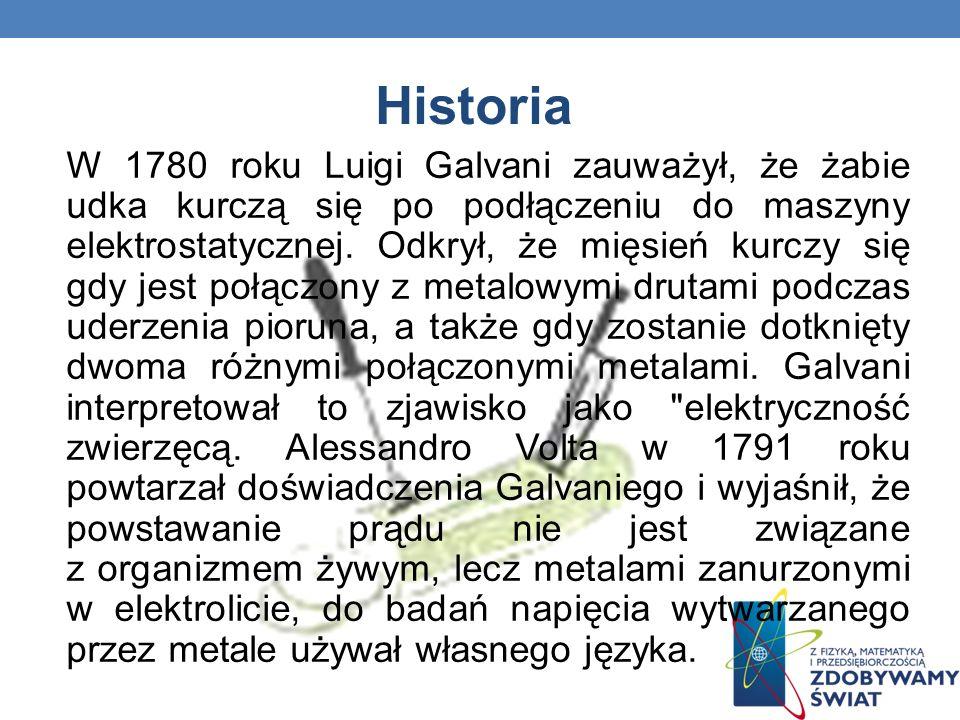 Historia W 1780 roku Luigi Galvani zauważył, że żabie udka kurczą się po podłączeniu do maszyny elektrostatycznej. Odkrył, że mięsień kurczy się gdy j