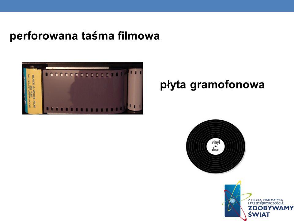 płyta gramofonowa perforowana taśma filmowa