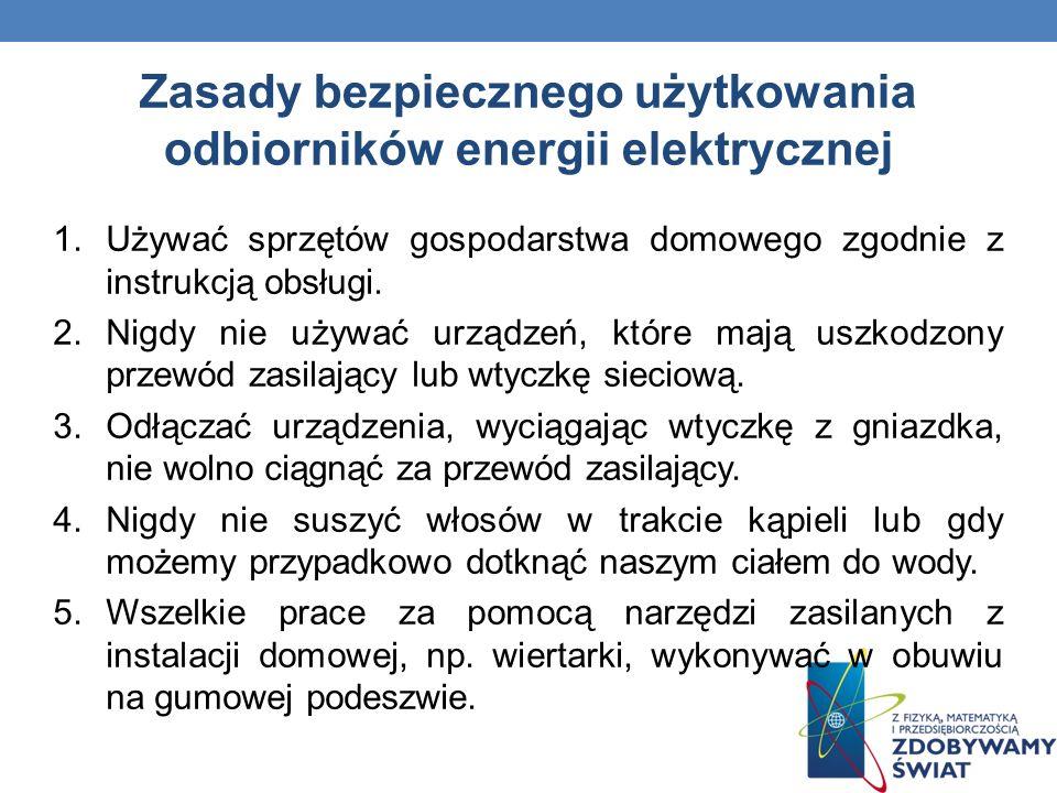 Zasady bezpiecznego użytkowania odbiorników energii elektrycznej 1.Używać sprzętów gospodarstwa domowego zgodnie z instrukcją obsługi. 2.Nigdy nie uży