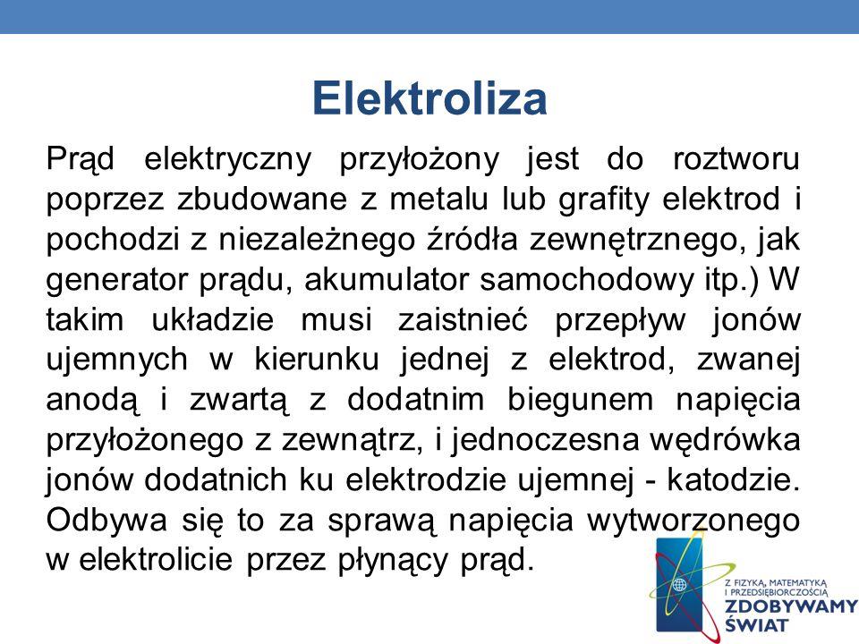Elektroliza Prąd elektryczny przyłożony jest do roztworu poprzez zbudowane z metalu lub grafity elektrod i pochodzi z niezależnego źródła zewnętrznego