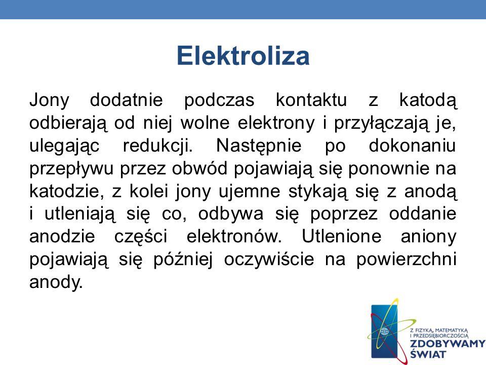 Elektroliza Jony dodatnie podczas kontaktu z katodą odbierają od niej wolne elektrony i przyłączają je, ulegając redukcji. Następnie po dokonaniu prze