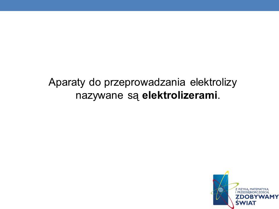 Aparaty do przeprowadzania elektrolizy nazywane są elektrolizerami.