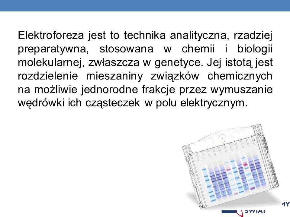 Elektroforeza jest to technika analityczna, rzadziej preparatywna, stosowana w chemii i biologii molekularnej, zwłaszcza w genetyce. Jej istotą jest r