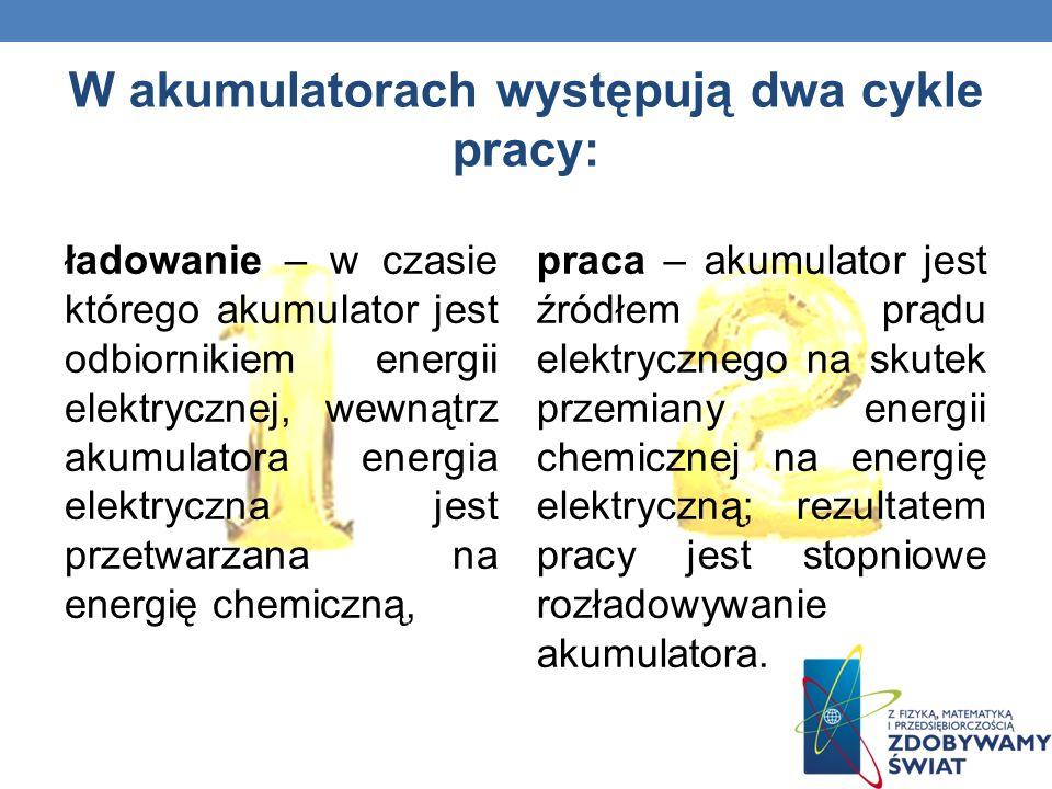 W akumulatorach występują dwa cykle pracy: praca – akumulator jest źródłem prądu elektrycznego na skutek przemiany energii chemicznej na energię elekt