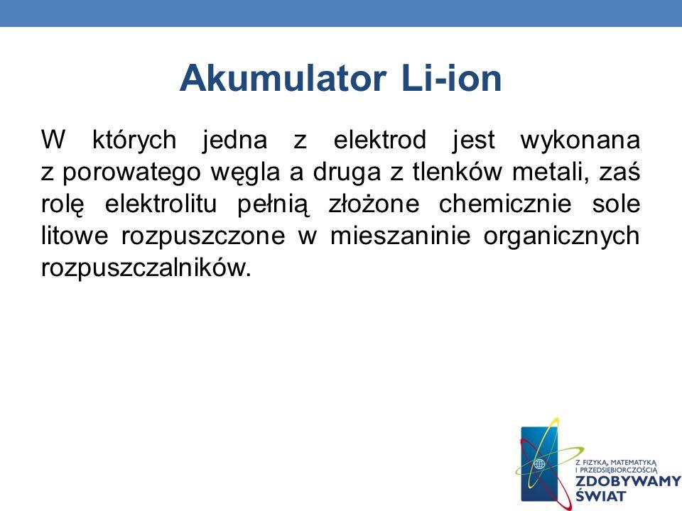Akumulator Li-ion W których jedna z elektrod jest wykonana z porowatego węgla a druga z tlenków metali, zaś rolę elektrolitu pełnią złożone chemicznie