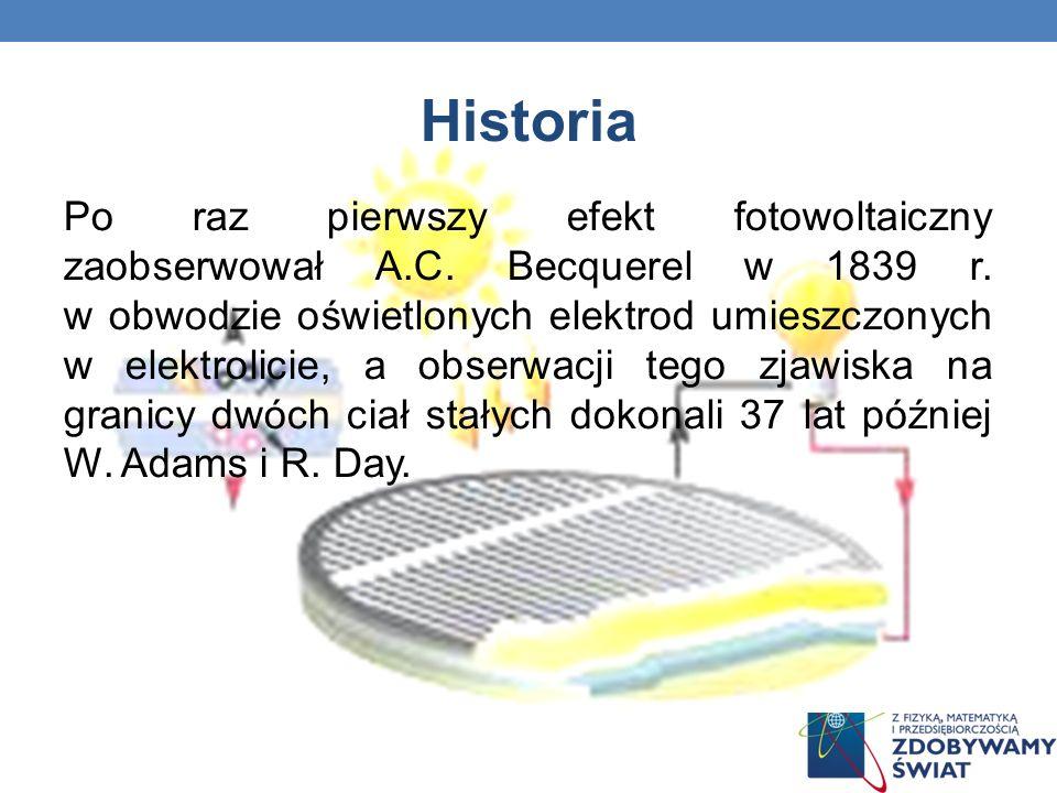 Historia Po raz pierwszy efekt fotowoltaiczny zaobserwował A.C. Becquerel w 1839 r. w obwodzie oświetlonych elektrod umieszczonych w elektrolicie, a o