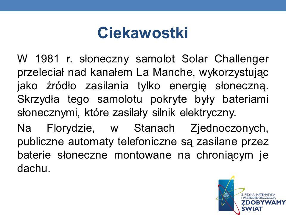Ciekawostki W 1981 r. słoneczny samolot Solar Challenger przeleciał nad kanałem La Manche, wykorzystując jako źródło zasilania tylko energię słoneczną
