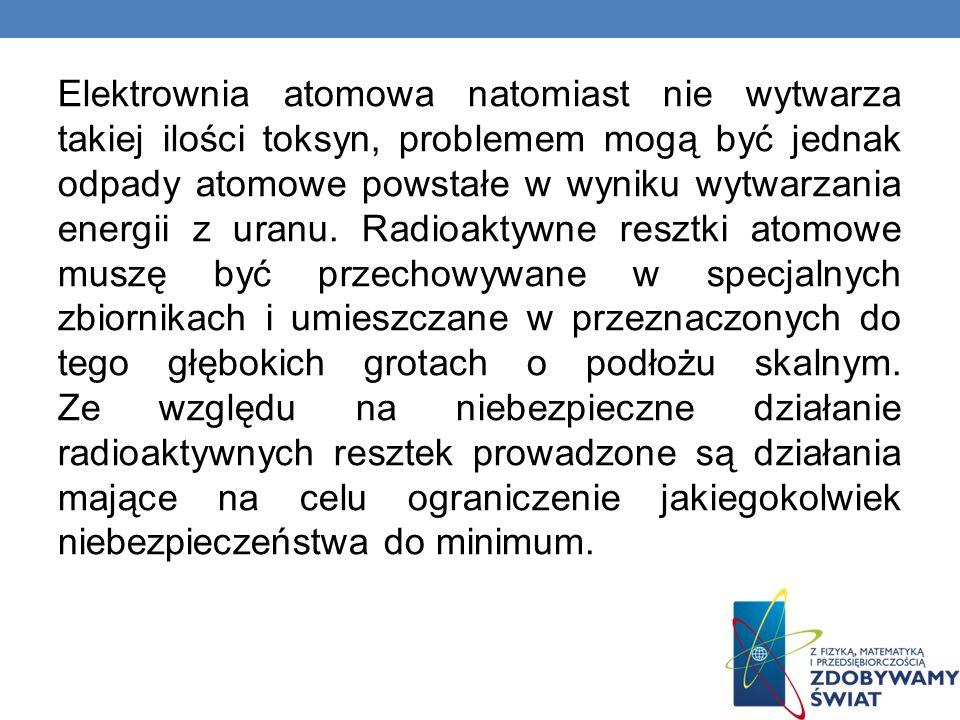 Elektrownia atomowa natomiast nie wytwarza takiej ilości toksyn, problemem mogą być jednak odpady atomowe powstałe w wyniku wytwarzania energii z uran