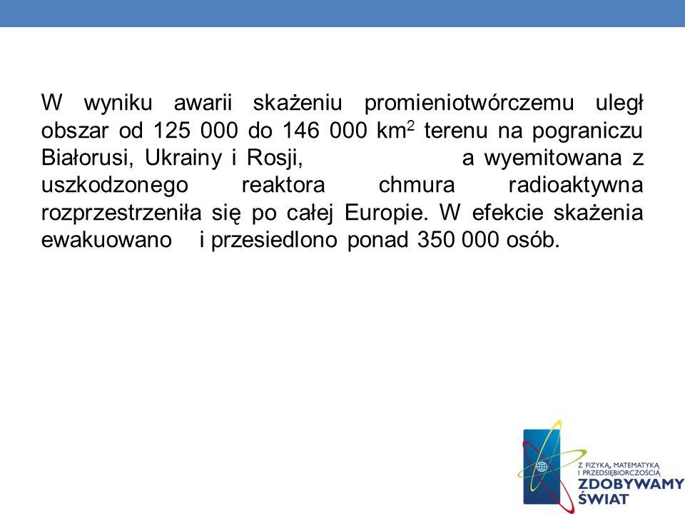 W wyniku awarii skażeniu promieniotwórczemu uległ obszar od 125 000 do 146 000 km 2 terenu na pograniczu Białorusi, Ukrainy i Rosji, a wyemitowana z u