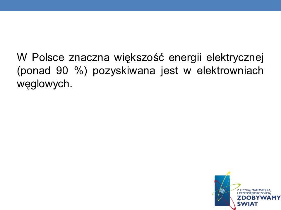 W Polsce znaczna większość energii elektrycznej (ponad 90 %) pozyskiwana jest w elektrowniach węglowych.