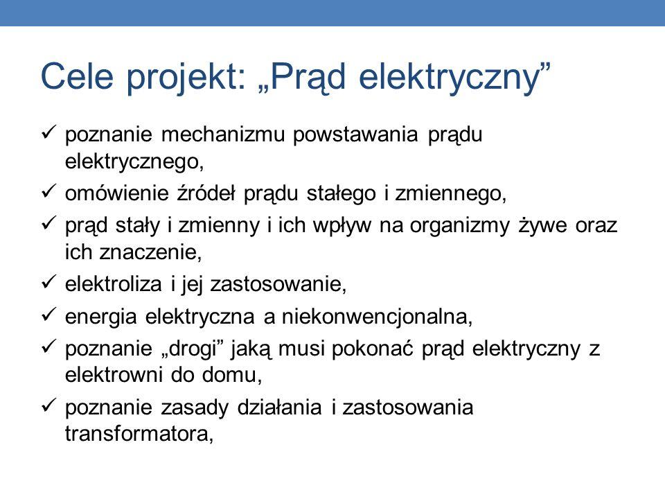 Cele projekt: Prąd elektryczny poznanie mechanizmu powstawania prądu elektrycznego, omówienie źródeł prądu stałego i zmiennego, prąd stały i zmienny i