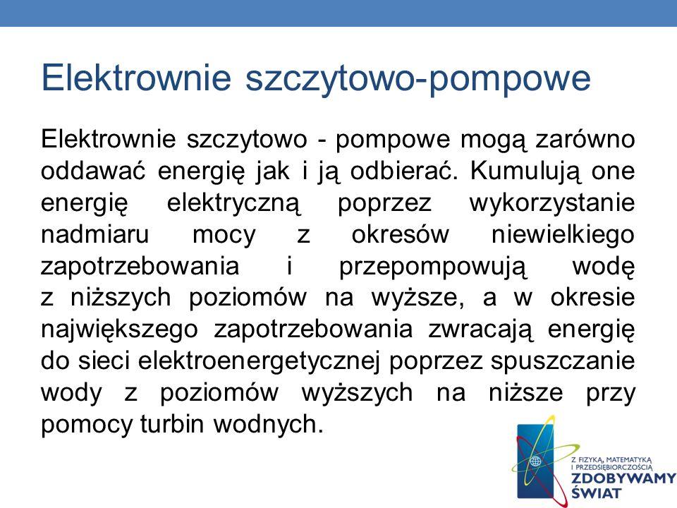 Elektrownie szczytowo-pompowe Elektrownie szczytowo - pompowe mogą zarówno oddawać energię jak i ją odbierać. Kumulują one energię elektryczną poprzez