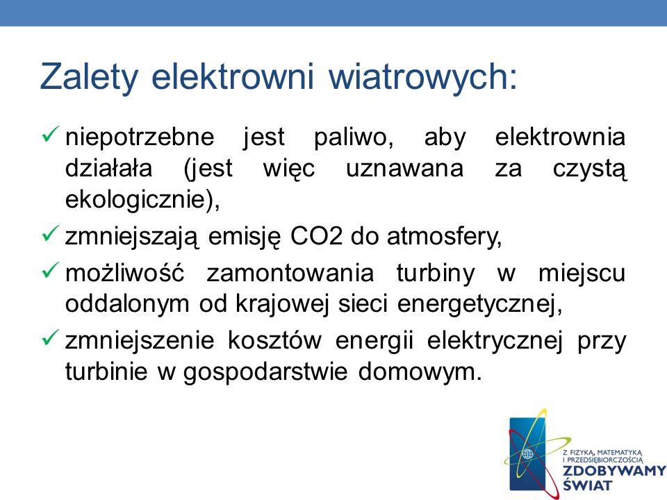 Zalety elektrowni wiatrowych: niepotrzebne jest paliwo, aby elektrownia działała (jest więc uznawana za czystą ekologicznie), zmniejszają emisję CO2 d