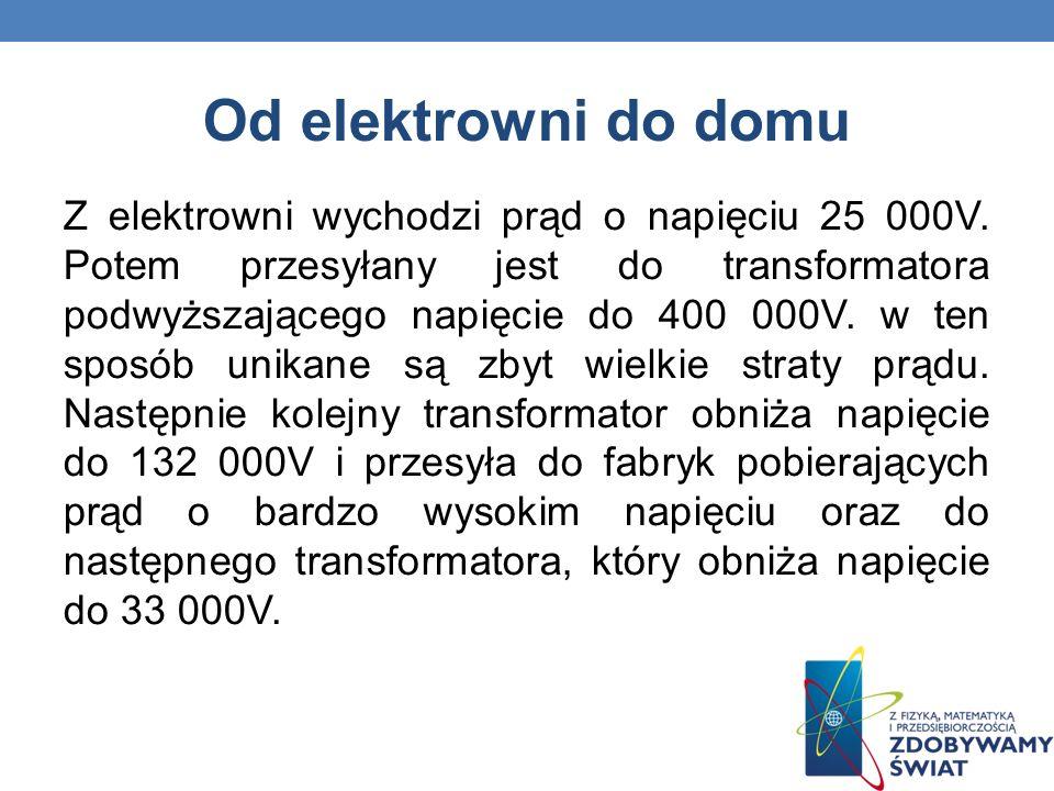 Od elektrowni do domu Z elektrowni wychodzi prąd o napięciu 25 000V. Potem przesyłany jest do transformatora podwyższającego napięcie do 400 000V. w t