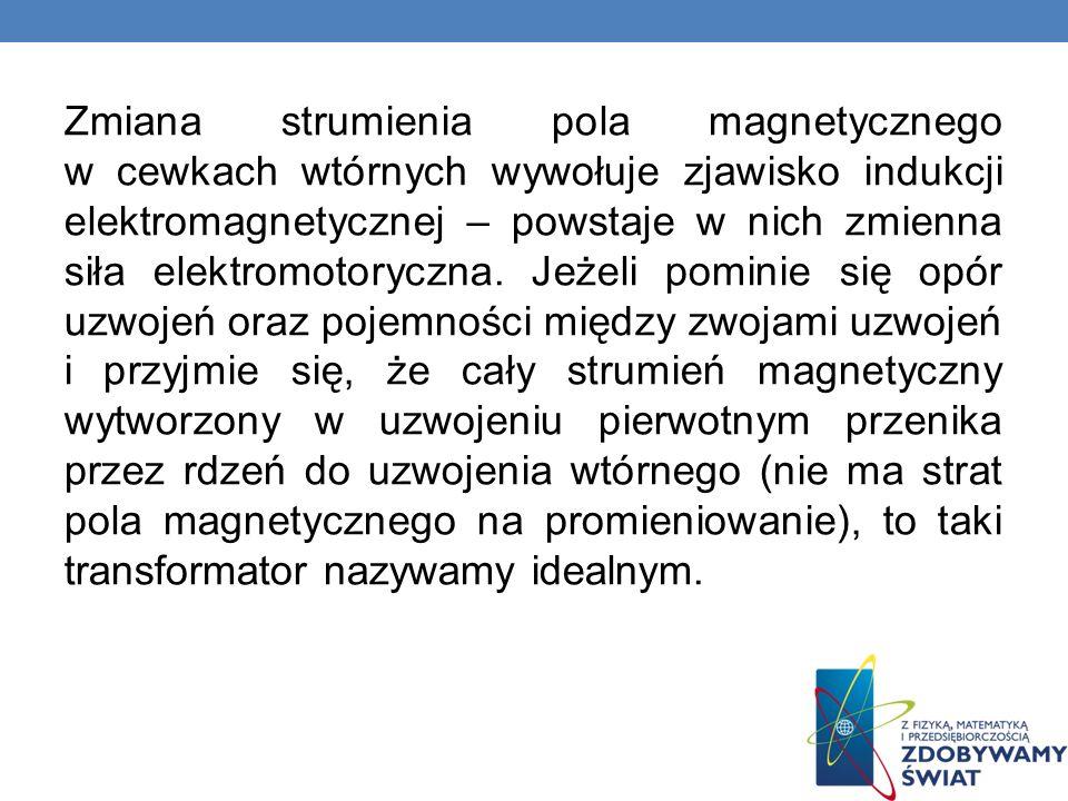 Zmiana strumienia pola magnetycznego w cewkach wtórnych wywołuje zjawisko indukcji elektromagnetycznej – powstaje w nich zmienna siła elektromotoryczn