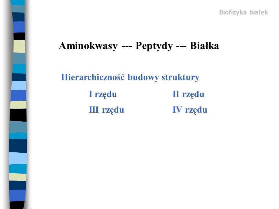 Biofizyka białek Hierarchiczność budowy struktury I rzęduII rzędu III rzęduIV rzędu Aminokwasy --- Peptydy --- Białka