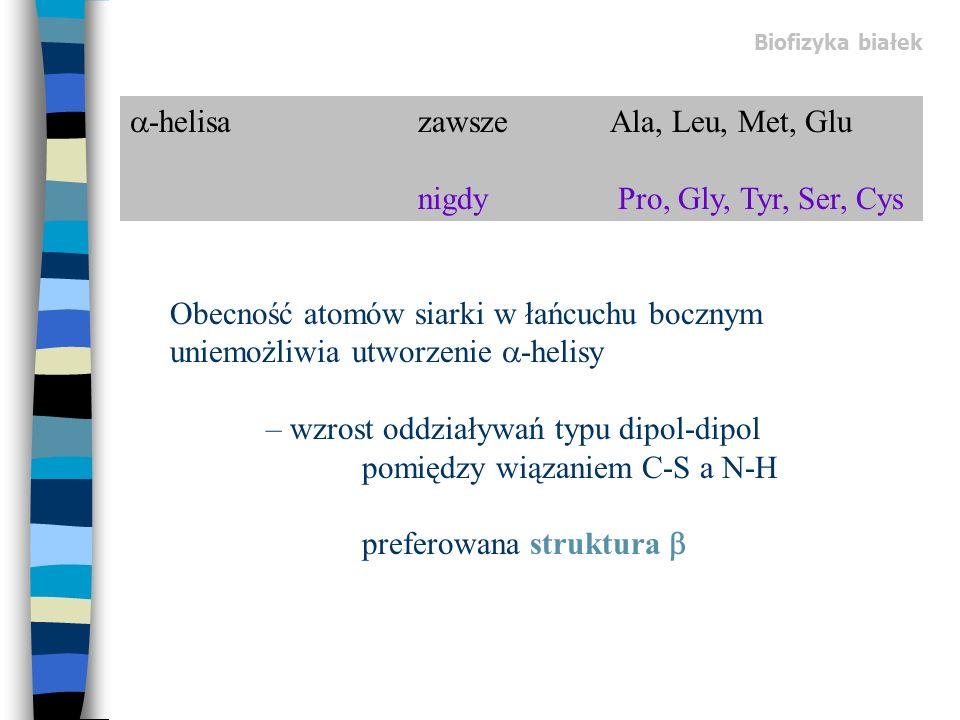 -helisa zawsze Ala, Leu, Met, Glu nigdy Pro, Gly, Tyr, Ser, Cys Obecność atomów siarki w łańcuchu bocznym uniemożliwia utworzenie -helisy – wzrost odd