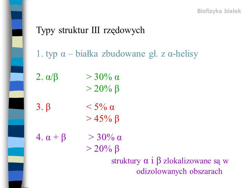 Biofizyka białek Typy struktur III rzędowych 1. typ α – białka zbudowane gł. z α-helisy 2. α/β> 30% α > 20% β 3. β 45% β 4. α + β > 30% α > 20% β stru