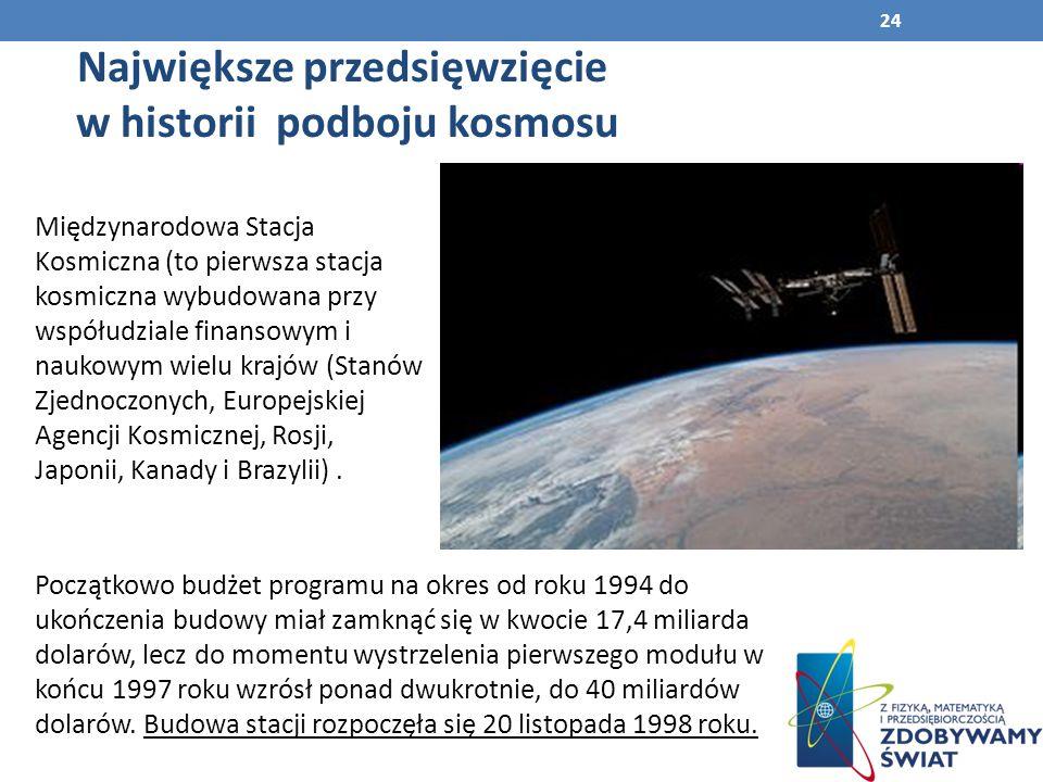 24 Międzynarodowa Stacja Kosmiczna (to pierwsza stacja kosmiczna wybudowana przy współudziale finansowym i naukowym wielu krajów (Stanów Zjednoczonych, Europejskiej Agencji Kosmicznej, Rosji, Japonii, Kanady i Brazylii).