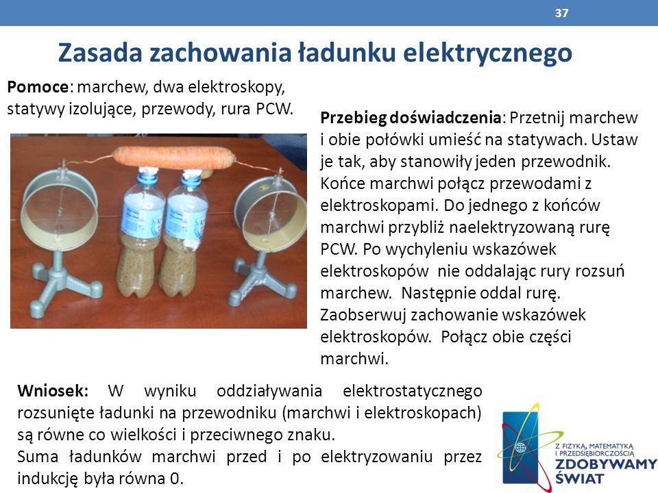 Zasada zachowania ładunku elektrycznego Pomoce: marchew, dwa elektroskopy, statywy izolujące, przewody, rura PCW.