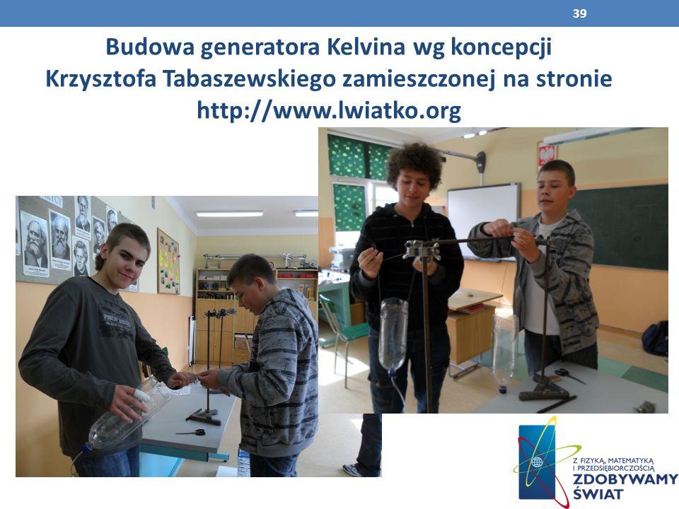 Budowa generatora Kelvina wg koncepcji Krzysztofa Tabaszewskiego zamieszczonej na stronie http://www.lwiatko.org 39