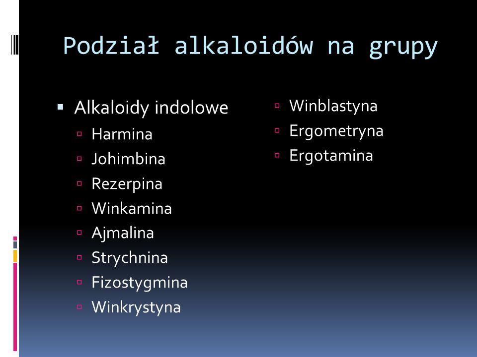 Podział alkaloidów na grupy Alkaloidy indolowe Harmina Johimbina Rezerpina Winkamina Ajmalina Strychnina Fizostygmina Winkrystyna Winblastyna Ergometr