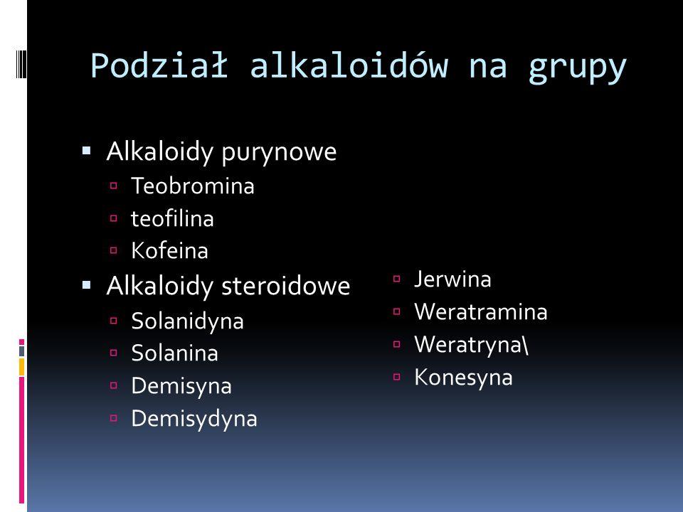 Podział alkaloidów na grupy Alkaloidy purynowe Teobromina teofilina Kofeina Alkaloidy steroidowe Solanidyna Solanina Demisyna Demisydyna Jerwina Werat