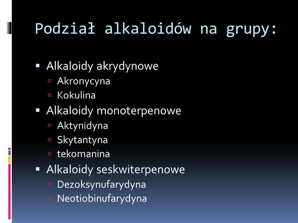 Podział alkaloidów na grupy: Alkaloidy akrydynowe Akronycyna Kokulina Alkaloidy monoterpenowe Aktynidyna Skytantyna tekomanina Alkaloidy seskwiterpeno