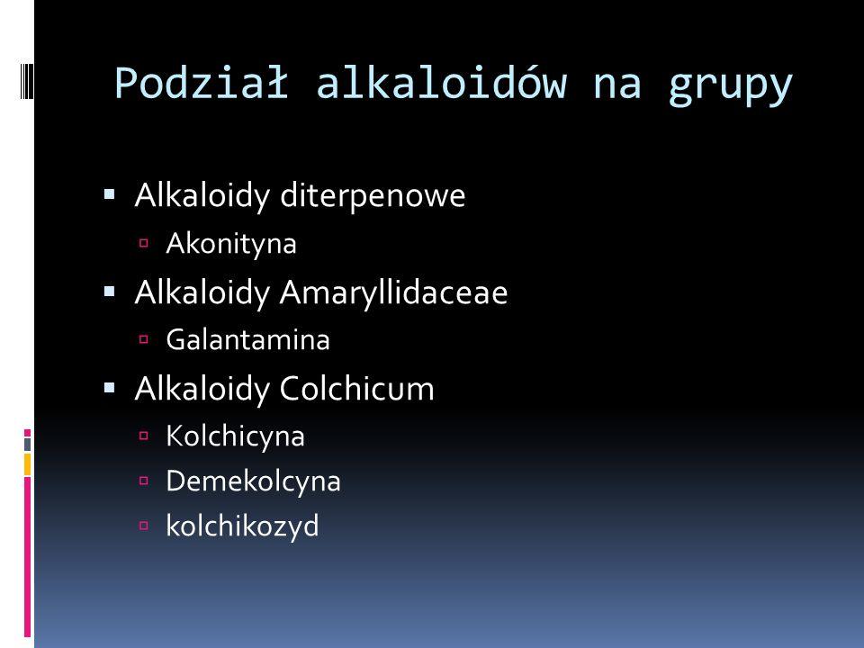 Podział alkaloidów na grupy Alkaloidy diterpenowe Akonityna Alkaloidy Amaryllidaceae Galantamina Alkaloidy Colchicum Kolchicyna Demekolcyna kolchikozy